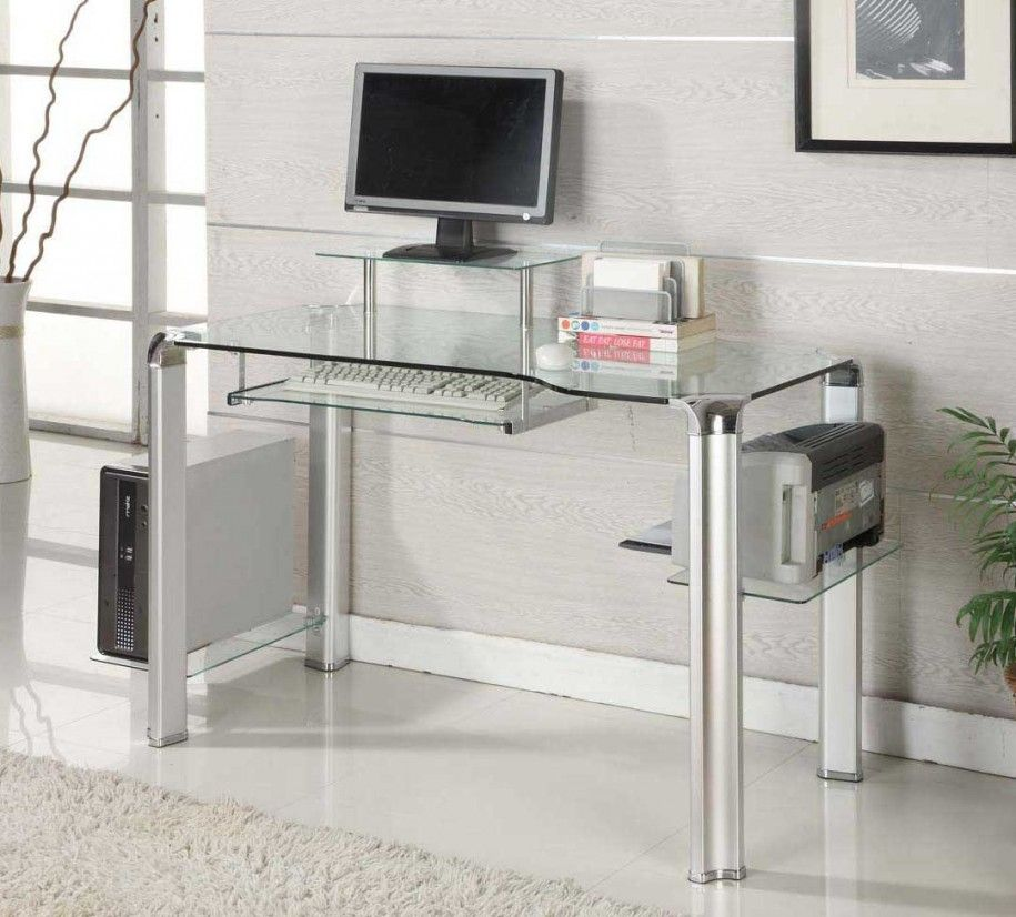 Glass modern computer desk for innovative and futuristic for Small modern computer desk