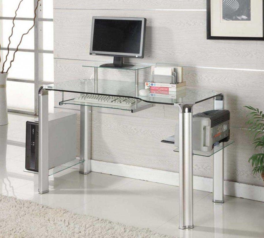 Glass modern computer desk for innovative and futuristic for Small modern computer desk