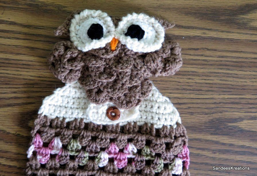 Crochet Brown Owl Towel, Hanging Towel, Oven Towel, Crochet Dish Cloth by SandeesKreations on Etsy