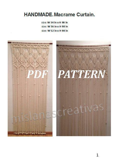 Van Drapes \u2022 1970s Wall Art Hanging \u2022 Macrame Curtain Room Divider Fringe Knots \u2022 How To Instruction Hanger 70s Vintage Boho Hippie PDF