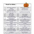 Here is a set of 20 Would you Rather Questions about Halloween. Great for discussion starters, class polls and journal prompts. Thanks for look...Free! Here is a set of 20 Would you Rather Questions about Halloween. Great for discussion starters, class polls and journal prompts. Thanks for look...