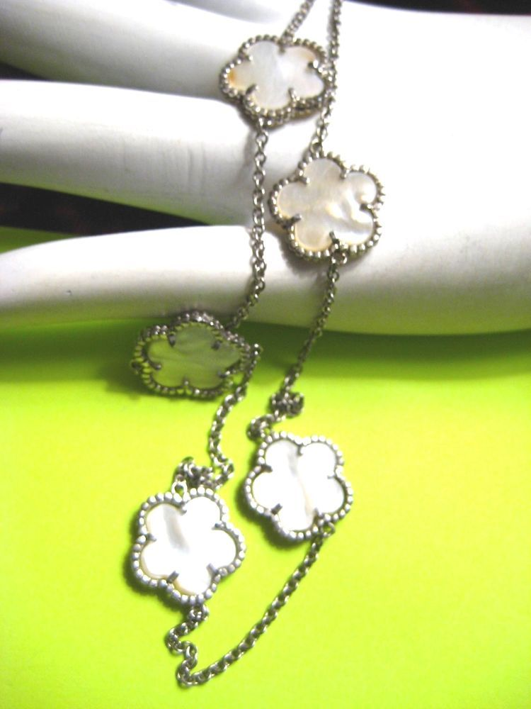 """Tell me this doesn't look exactly like a Van Cleef & Arpel design?!!!  Sterling Silver Necklace 5 Mother of Pearl Flower Stations 16"""" 18"""" adjustable #UNbranded #Chain #vancleef #vancleefarpels #arpels #jewelry #fashionjewelry"""