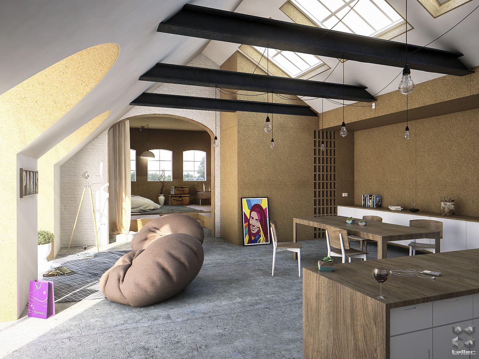 Visualizaci n arquitect nica dise o interior casa taller for Oficinas de diseno y arquitectura