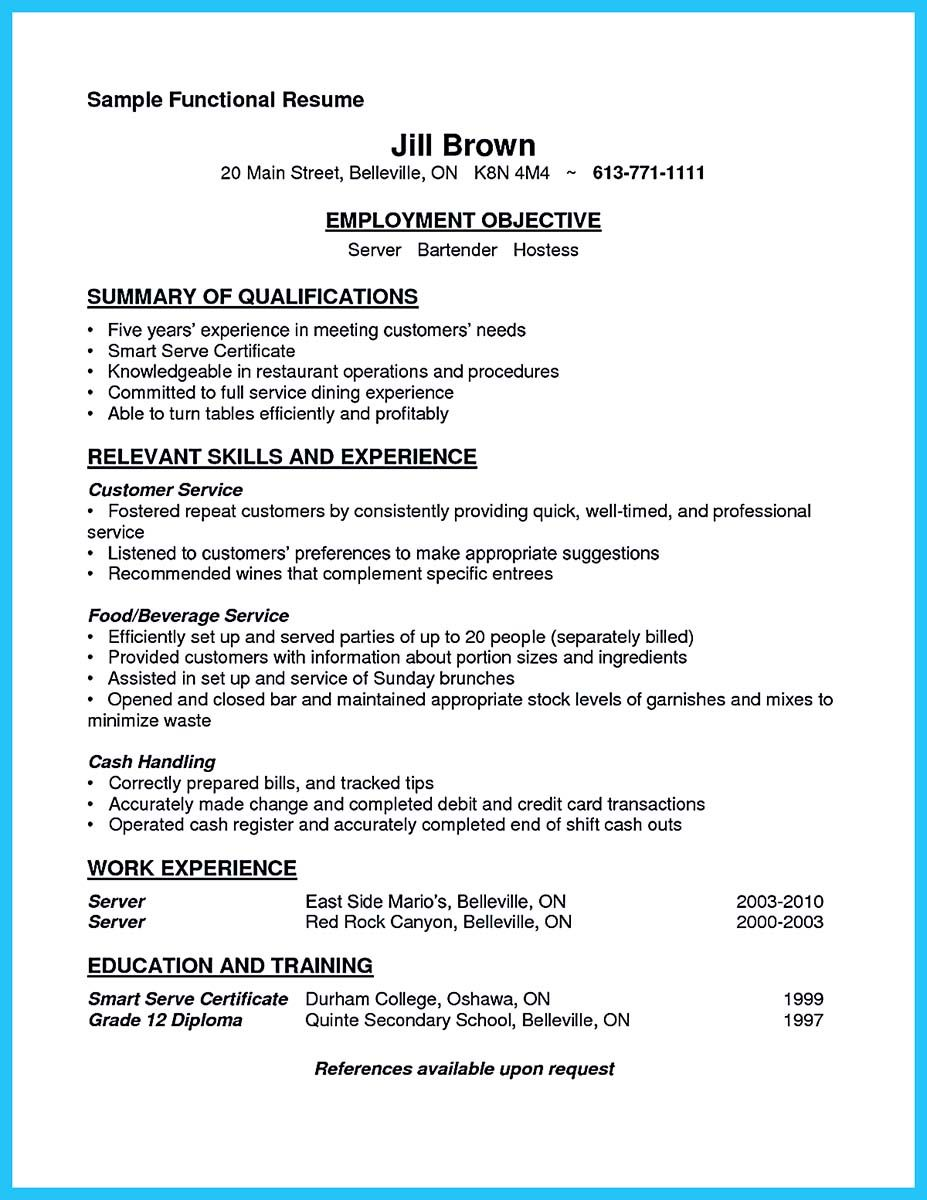 internet offers various bartender resume template and samples that allow us to make the bartender resume - Server Bartender Resume