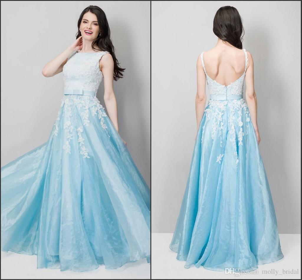 Light Sky Blue Lace 2016 Cheap Prom Dresses Long Beaded Organza ...