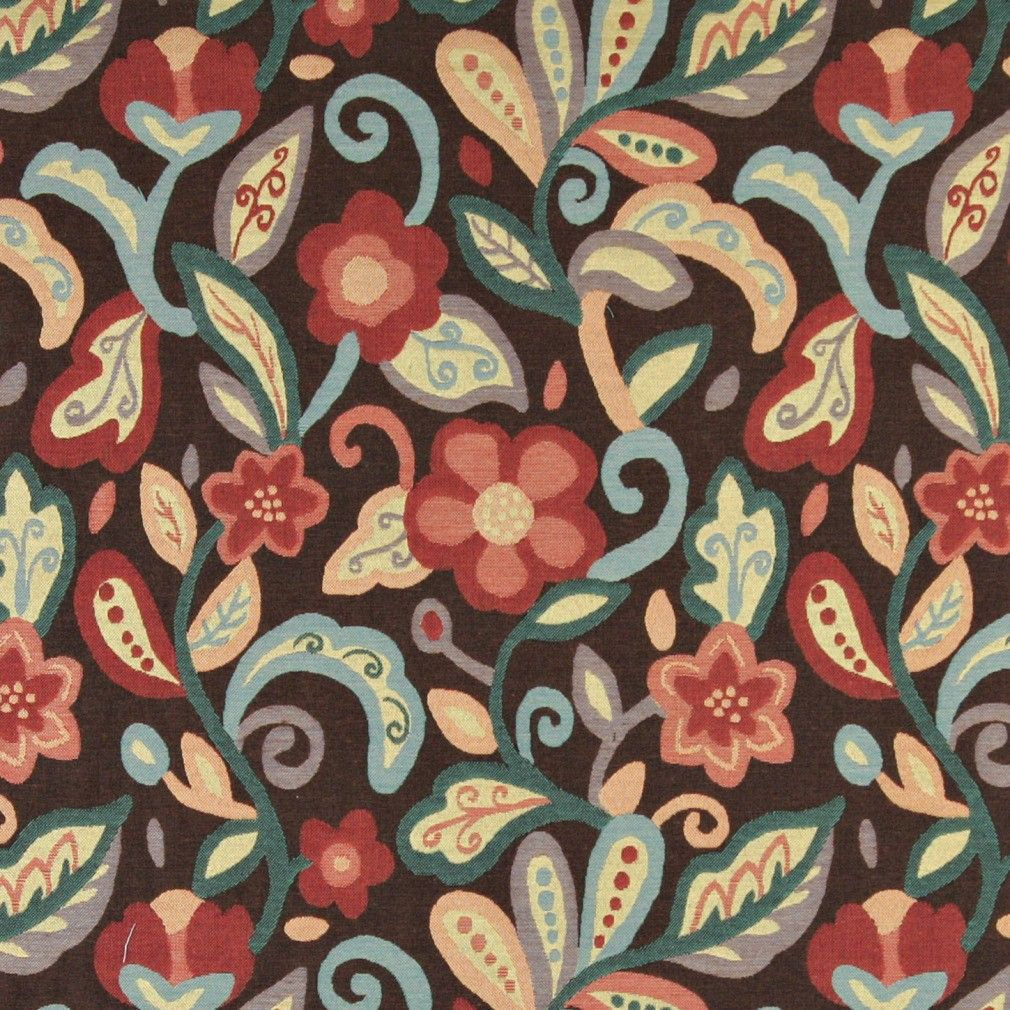 Teal, Blue, Orange, Red And Brown, Floral Upholstery Fabric By The Yard