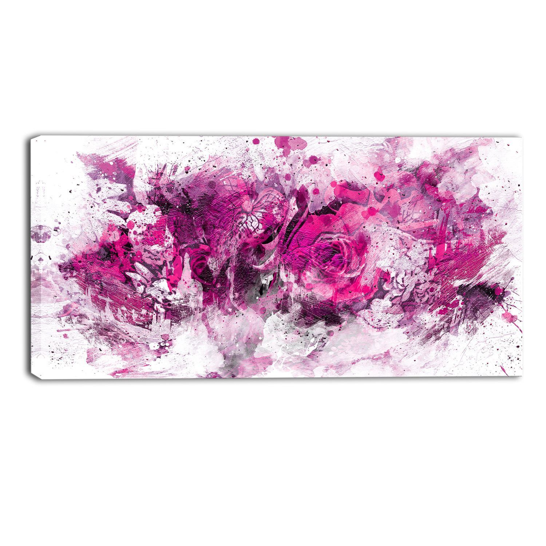 Pink Fusion Floral Canvas Wall Art Print