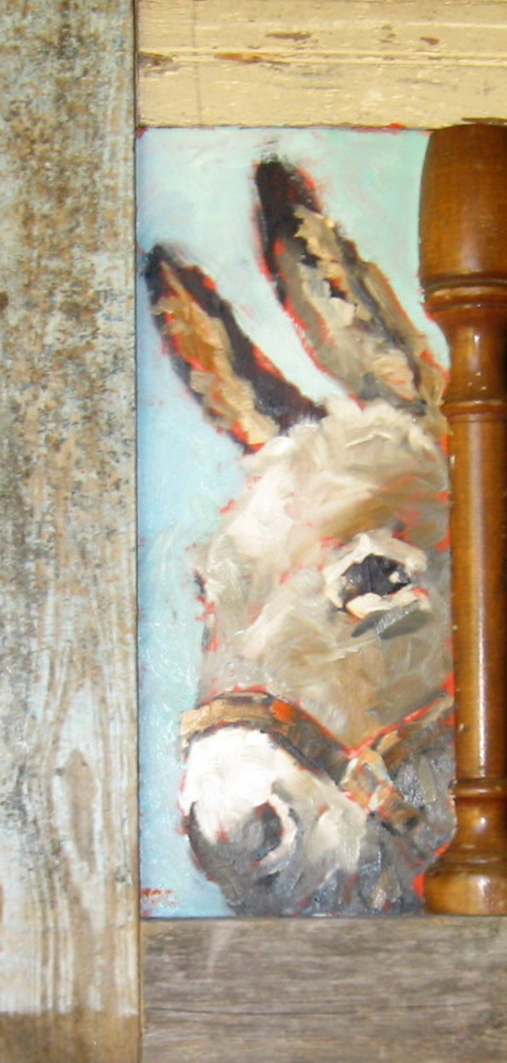 Say Hi To Wendell Oil On Birch Panel With A Repurposed Frame Cow Painting Animal Paintings
