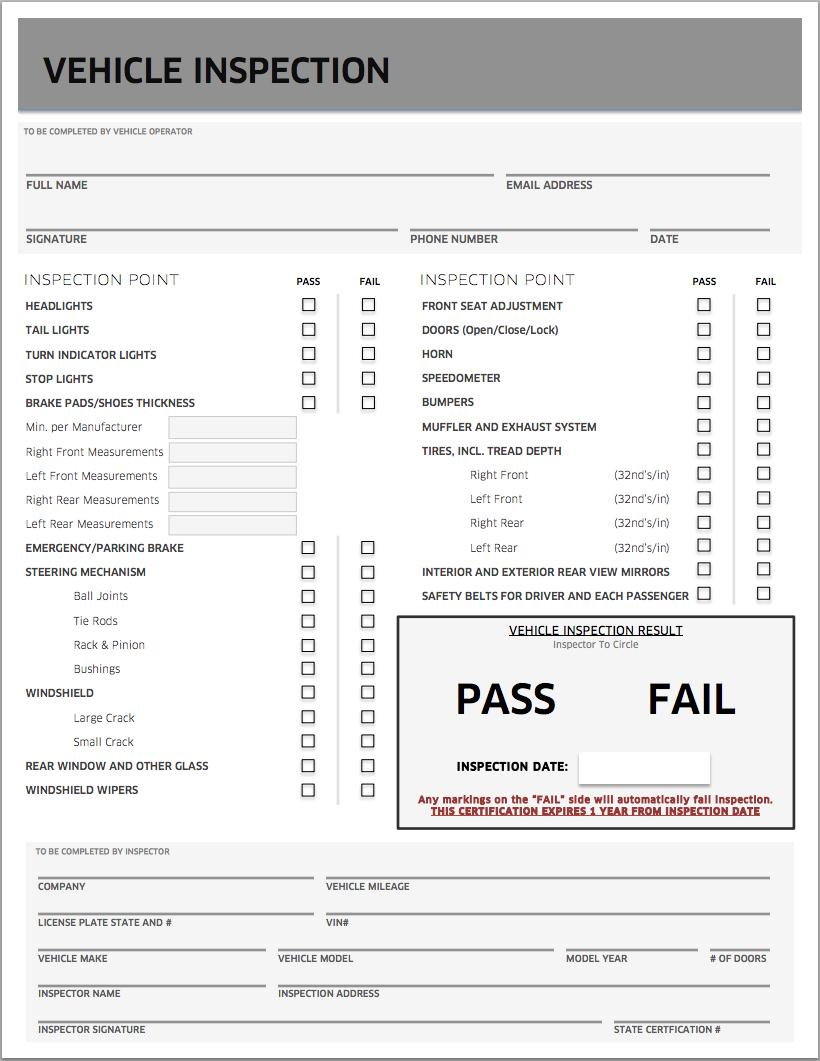 Uber inspection form for Uber inspection form feature | prosties ...