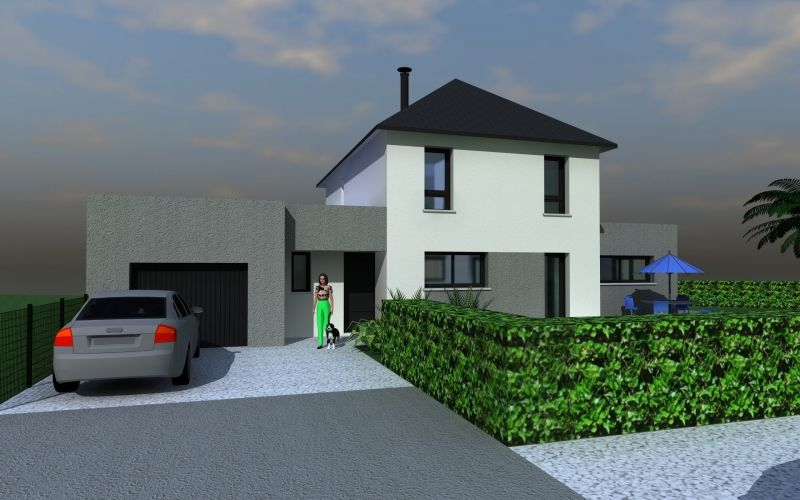 Assez maison moderne toit 4 pans et extension toit plat | Architecture  SG61
