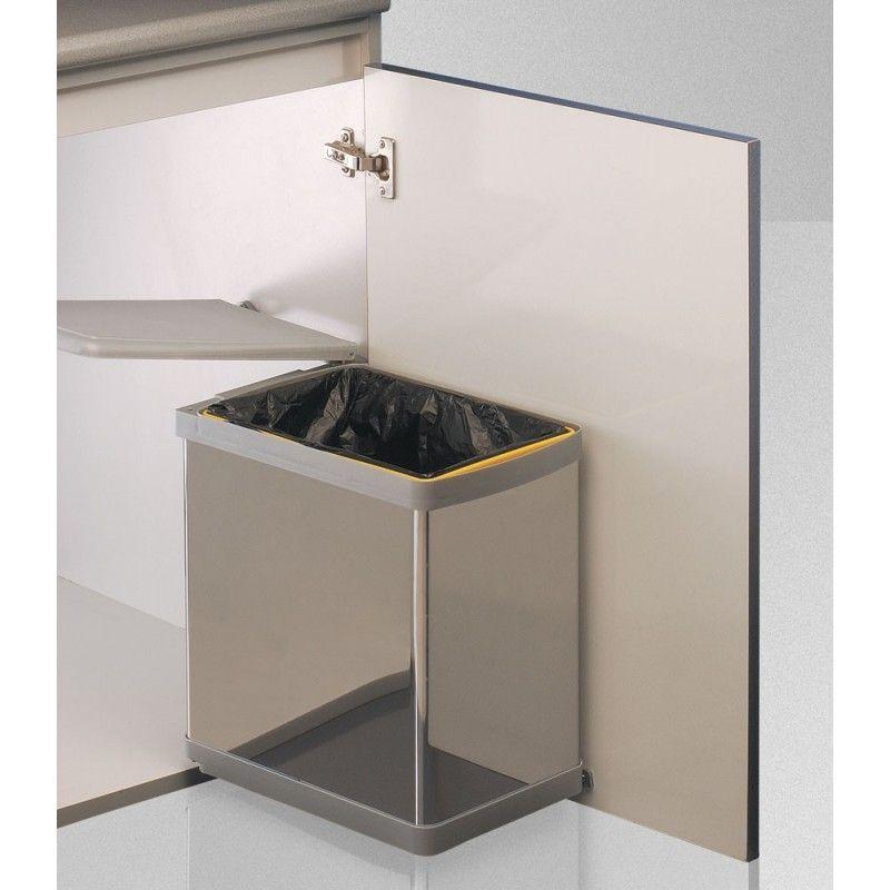 Cubo basura 21l inox cubo de basura rectangular for Cubo basura extraible ikea