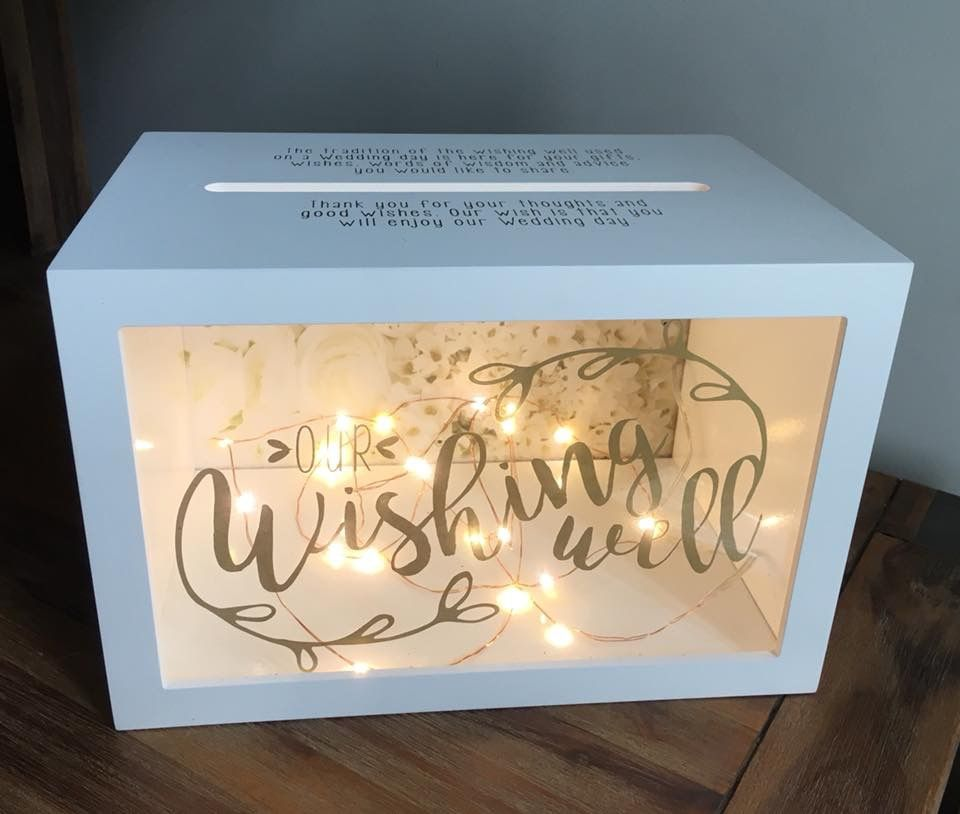 Card Box Ideas For Wedding Reception: Light Up Wishing Well Box - Wedding Reception