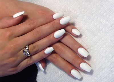 the color of pure white but coffin nails  nails  square