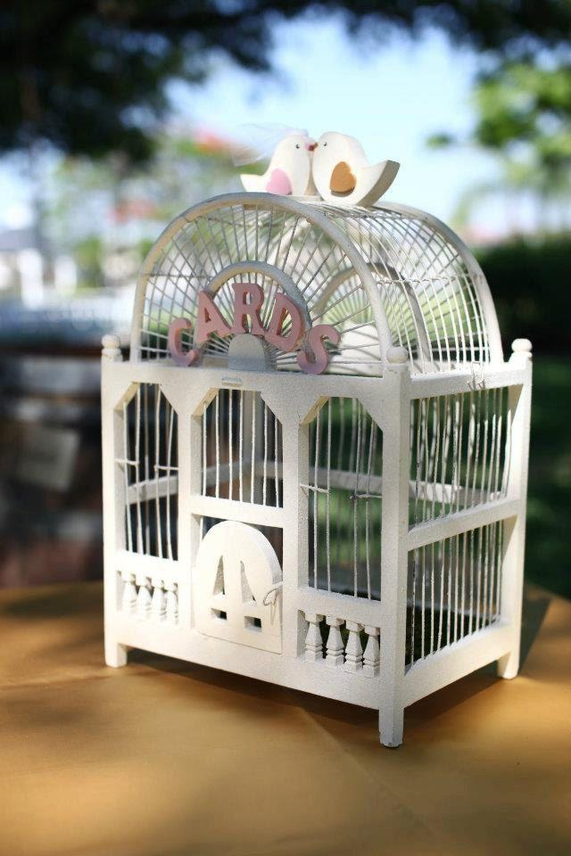 wood wedding card holders%0A Vintage Wooden Birdcage Wedding Card Holder