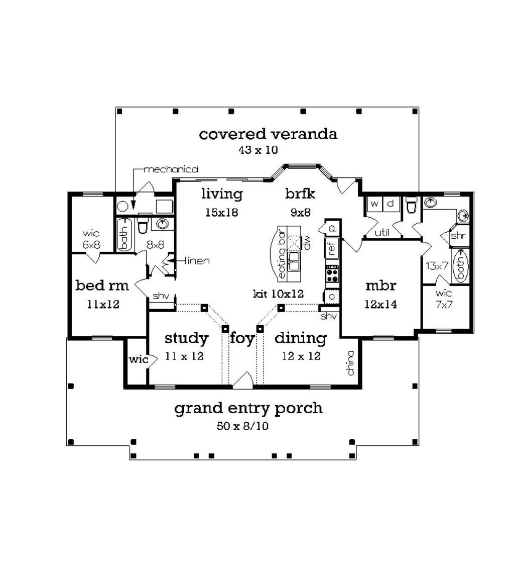 Cottage Style House Plan 2 Beds 2 Baths 1516 SqFt Plan 45368