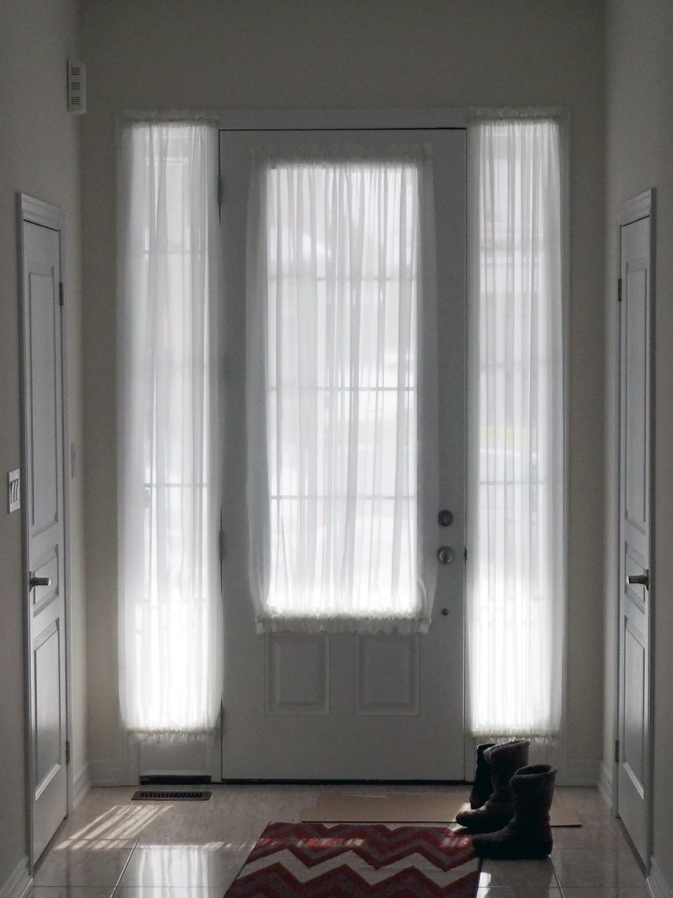 Sheers For Both The Front Door Glass And The Two Sidelight Windows Provides A Consistent Look Front Doors With Windows Sidelight Curtains Front Door Curtains