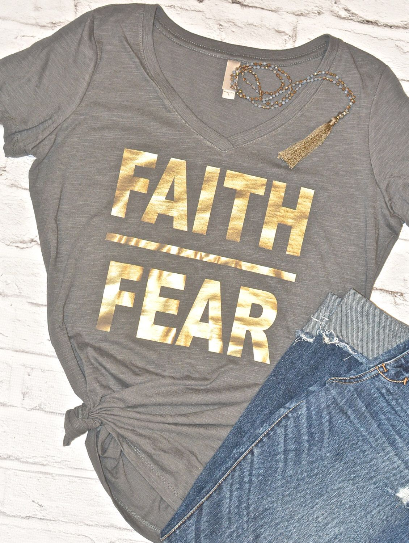 7c7fbbc5 Custom Ladies Tee Cotton, Bella + Canvas Tee Premium Gold Foil Design Made  to Order. Faith over Fear ...