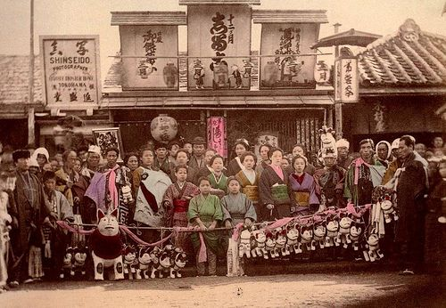 """MIYAMAIRI  in OLD JAPAN (1) 宮参り by Okinawa Soba, via Flickr.  Miyamairi is a """"Visit to the Shinto Shrine"""" where the new-born is blessed by the Priest. In this case, it's after the shrine ceremony where everyone is """"Off to the Photographer"""" to capture the memories. It's the 1890s in old Japan."""