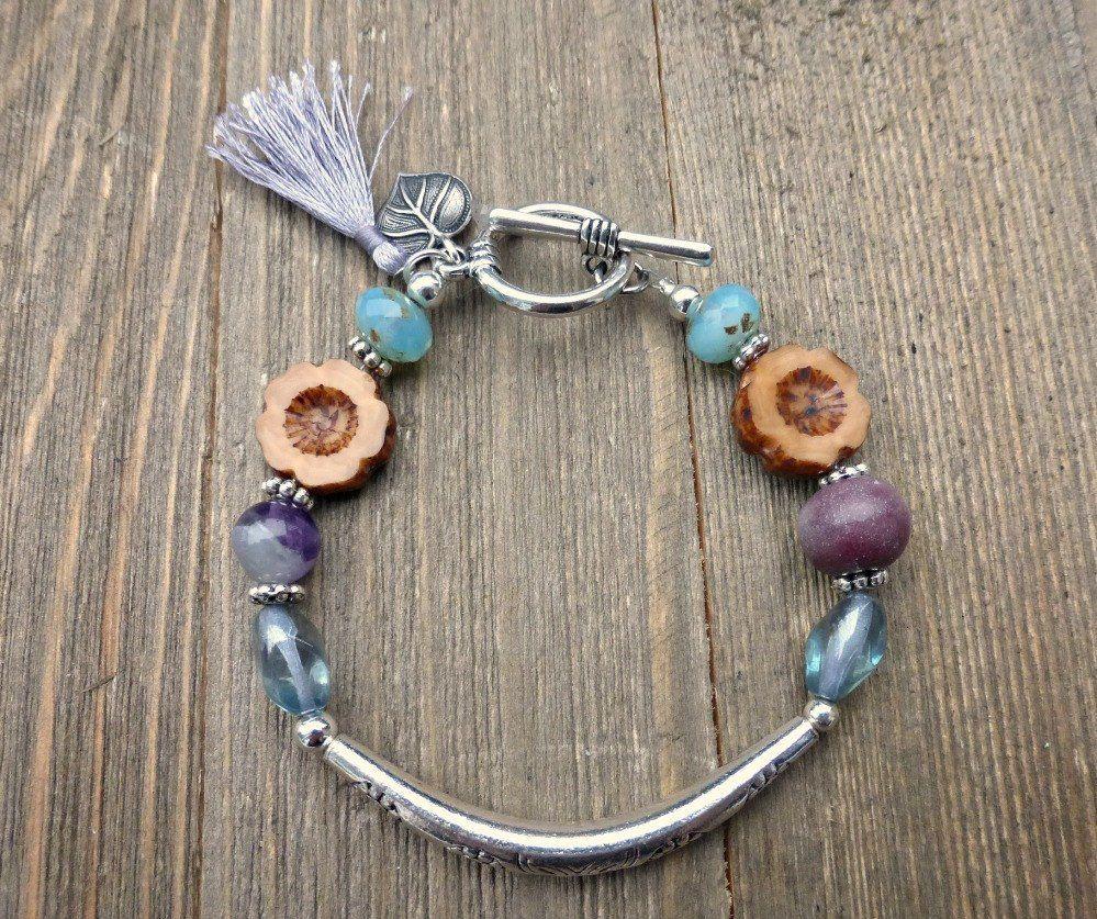 Flowers. Czech glass bead and silver flower bar bracelet. Beaded boho jewelry.