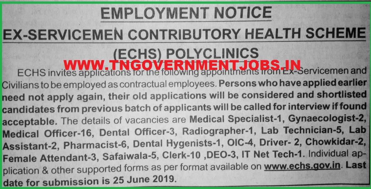 ECHS Polyclinics Tamil Nadu Job Notification 2019 Job