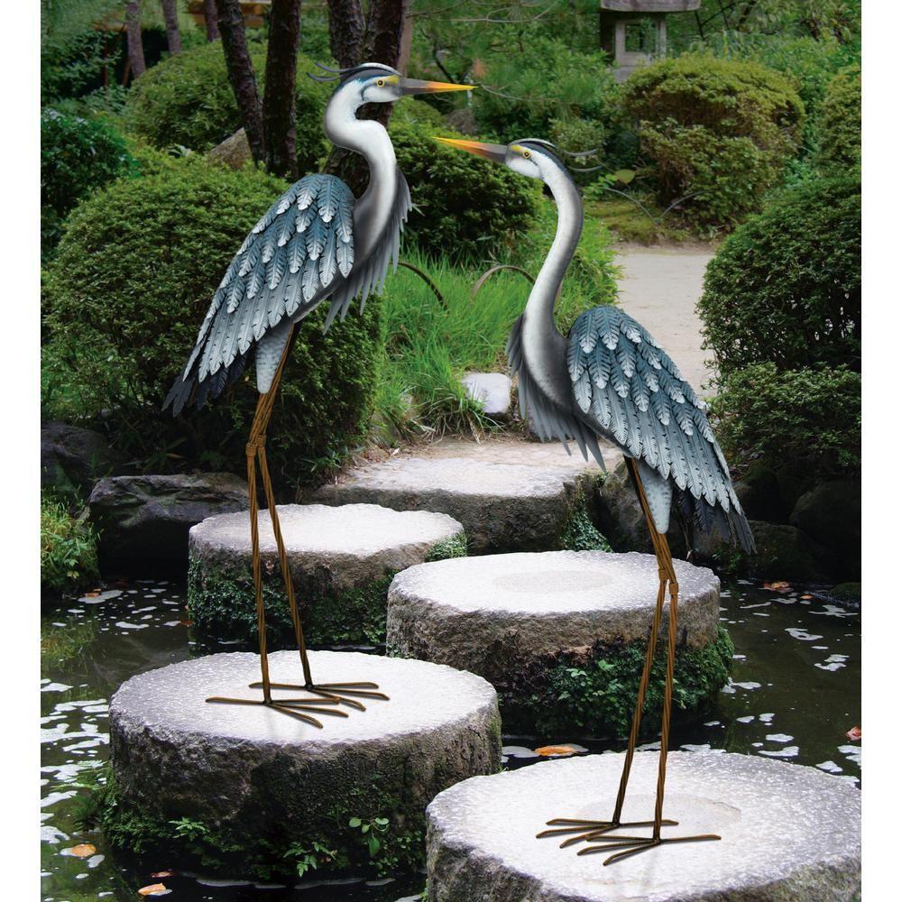 Regal Large Blue Heron Metal Garden Statuary Looking