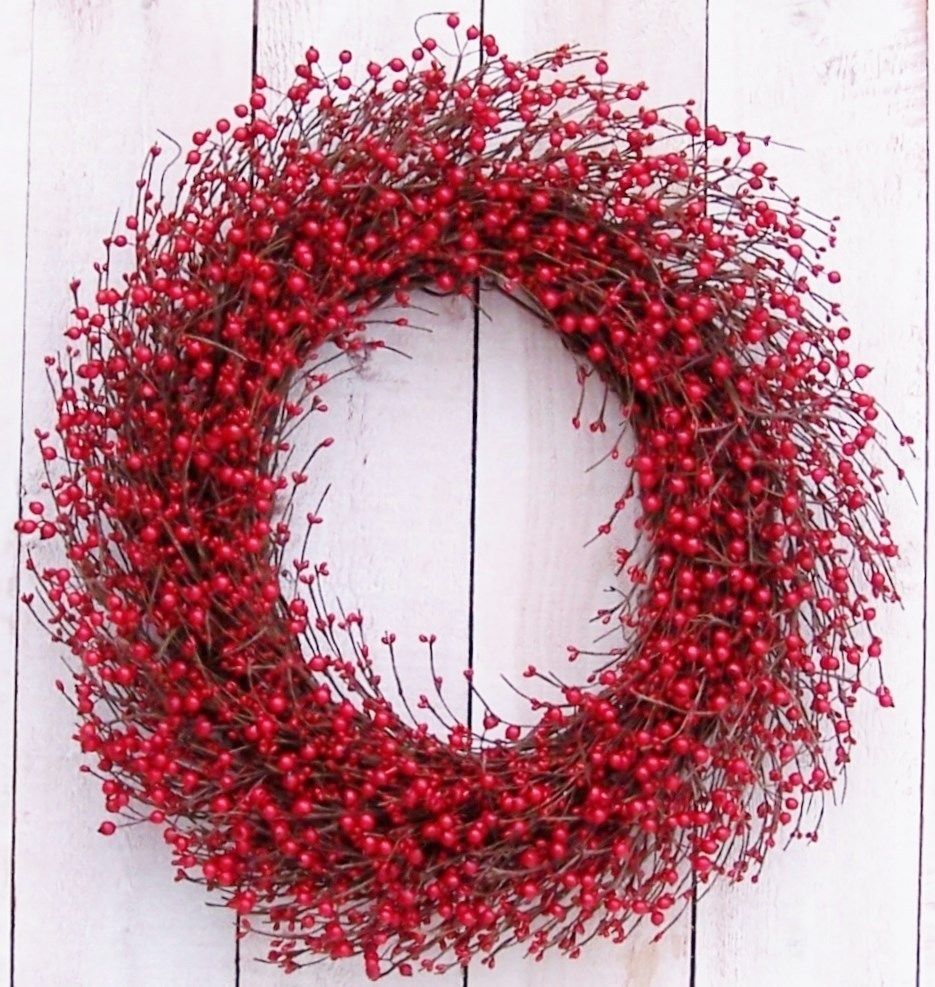 Xl Spring Summer Primitive Country Rustic Cherry Red Berry Door Wreath Decor 89 00 Wreath Decor Winter Wreath Fall Wreath