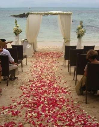 A Beautiful Rose Petal Aisle On The Beach Keep It Sheltered In Case Of Seaside Breezes