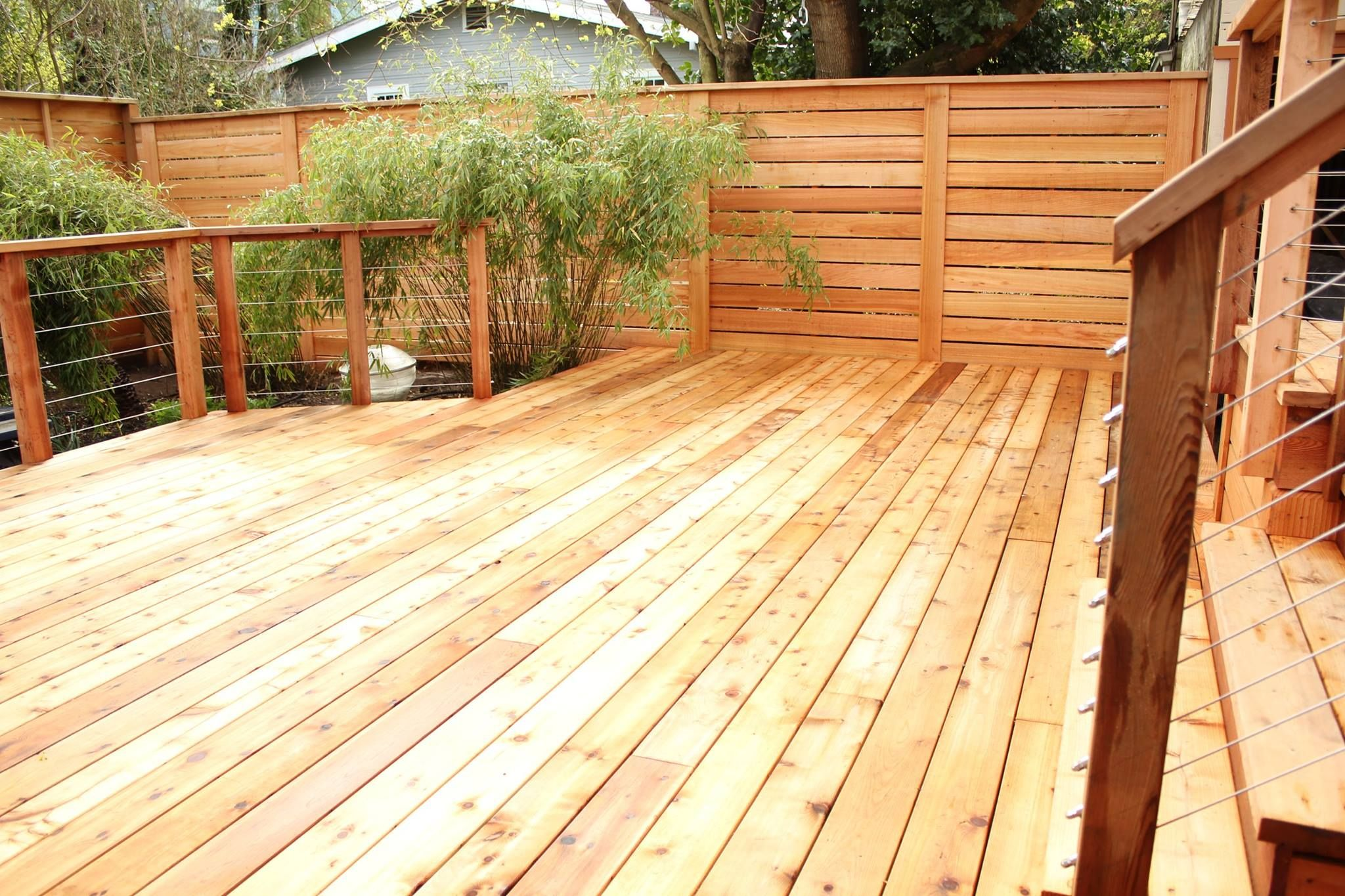 Cedar Deck, Fence, And Cable Railing System By Cascade Fence U0026 Deck In  Vancouver