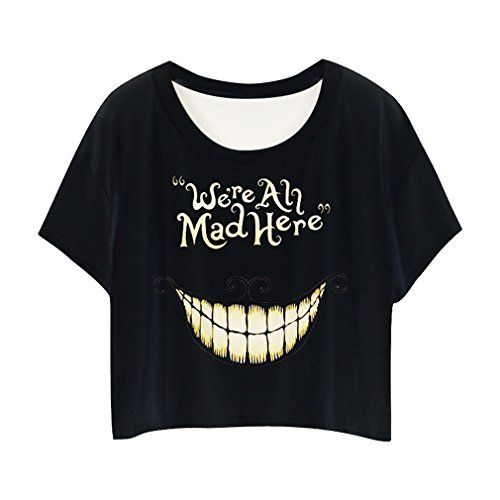 4d937a00600e8 MingTai-Impresion-Camiseta-Chica-Con-Cuello-Redondo-Camisetas-Cortas -Personalizadas-Camisas-Blancas-Mujer-Basicas-Divertidas-Suelto-0