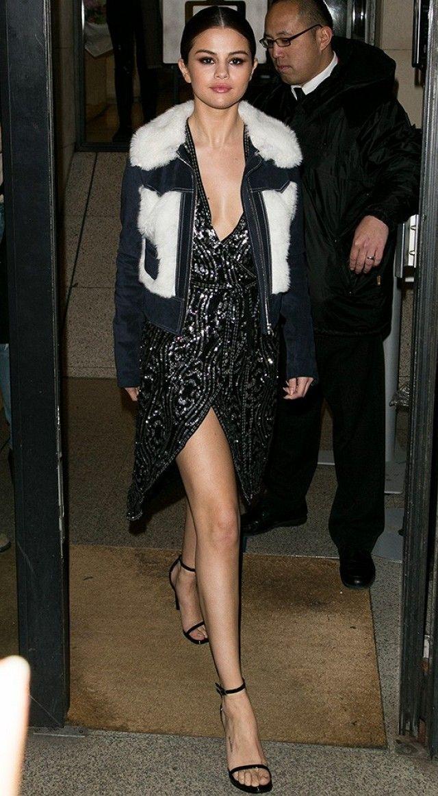 27759f41d96b Selena Gomez wears a Rodarte x   Other Stories jacket and dress with Saint  Laurent Jane Sandals