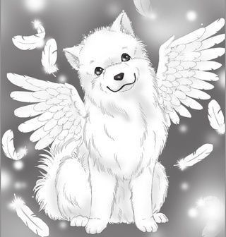 Chien Blanc Aile Manga Assis Dessin Chien Chien Manga Noel