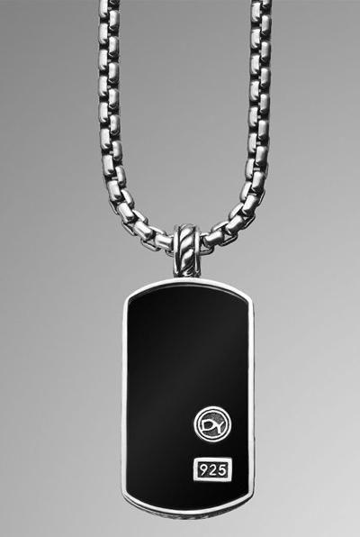 David Yurman Black Onyx Dog Tag Necklace Mens Dog Tag Necklace