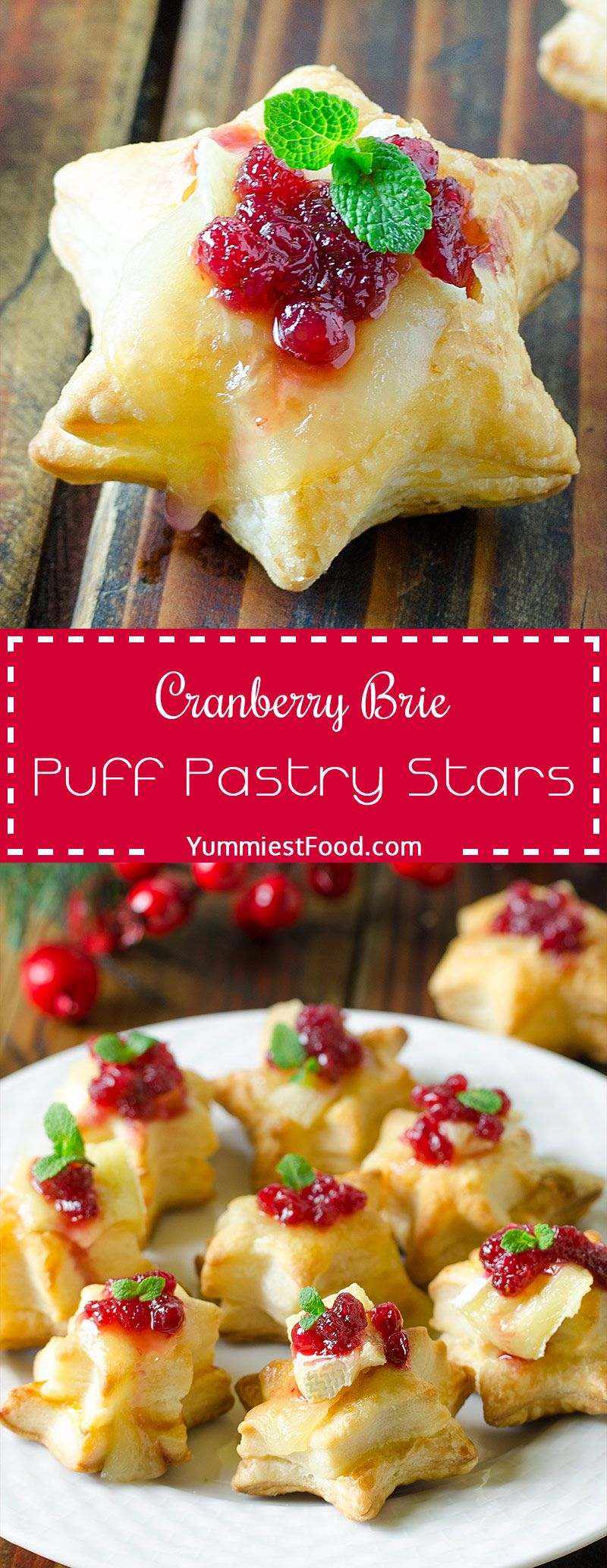 Christmas Cranberry Brie Puff Pastry Stars #christmasappetizers