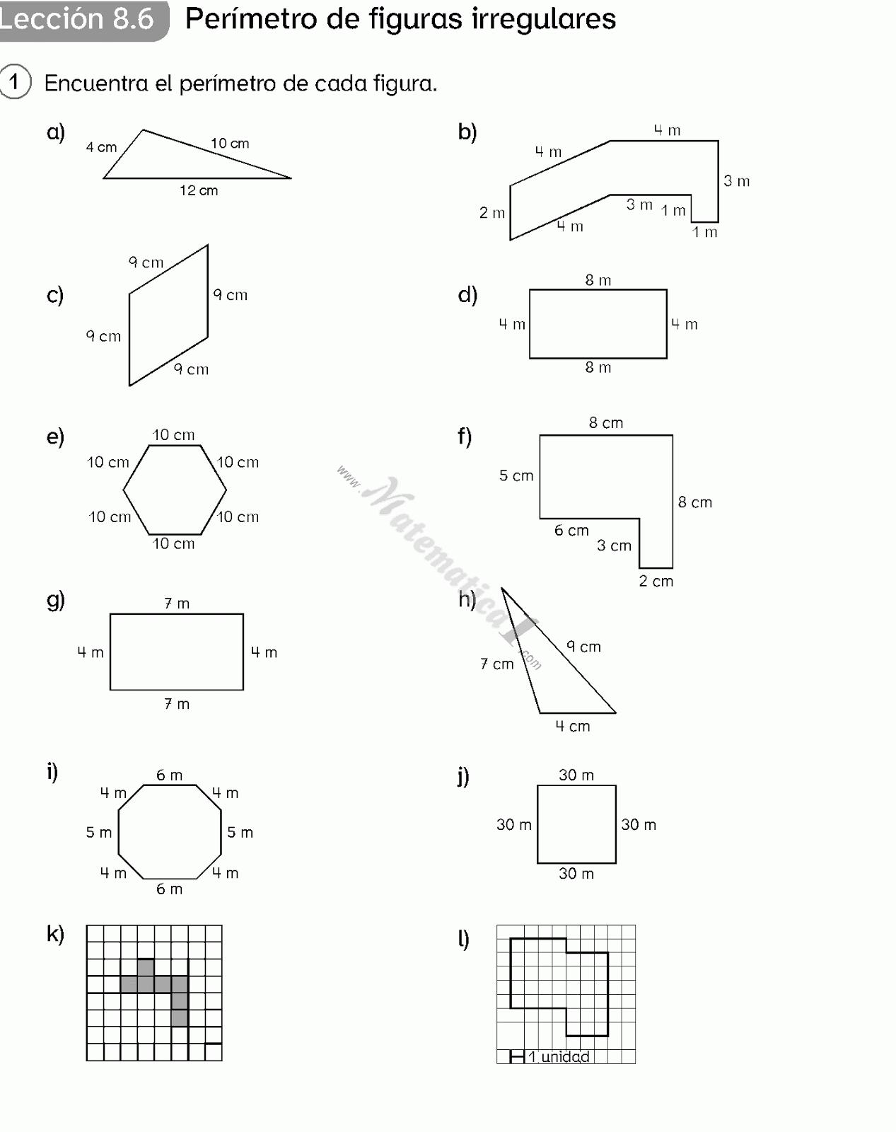 Realizar El Calculo Del Perímetro De Las Siguientes Figuras Lecciones De Matemáticas área Y Perímetro Perimetro