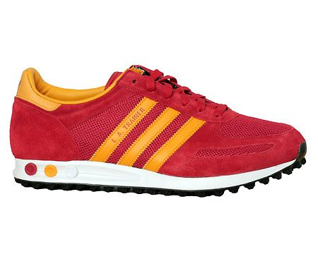 Adidas L A Trainer Red Orange Mesh Suede Trainers Suede