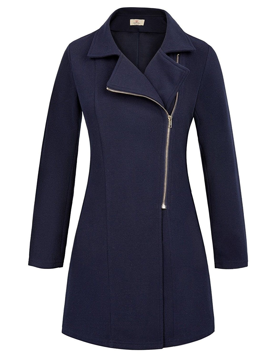 ce15547d26f Women Long Sleeve Casual Zipper Jacket Coat CLAF0243 - Navy Blue ...