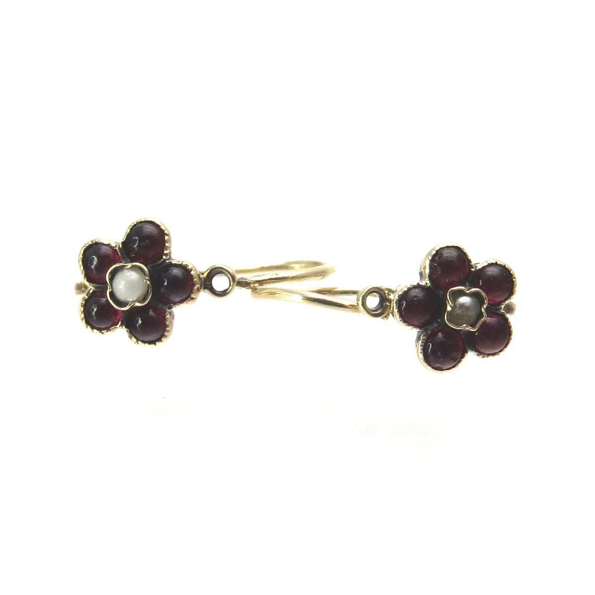 2f9beb79b Diminutive Victorian Earrings Garnet Seed Pearl 14k Gold, Victorian, 1830s  to 1900s These tiny flower earrings are made of solid 14k gold.