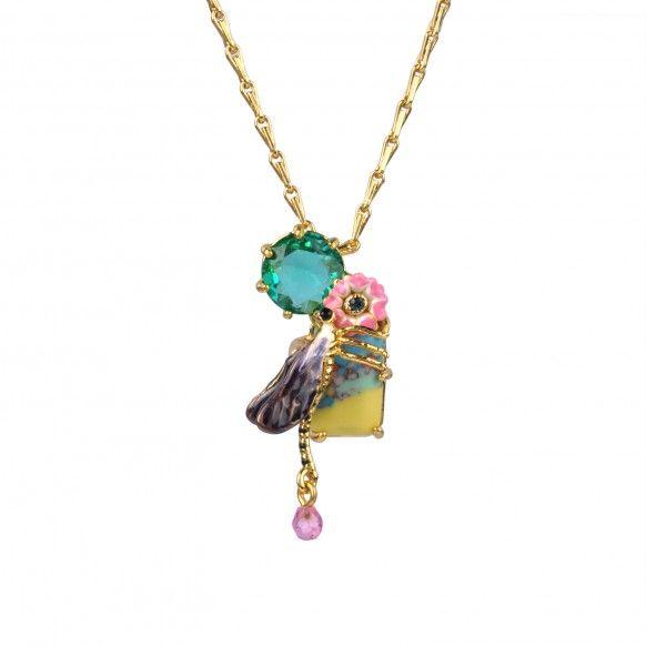 ddfac16a820fb Collier libellule obscure sur pierre multicolore, bijoux fantaisie, nature,  fleur, insecte,
