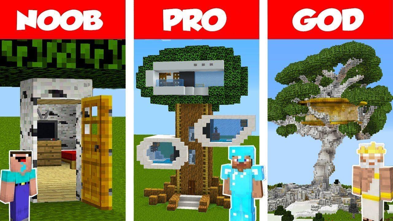 Minecraft Noob Vs Pro Vs God Modern Tree House Challenge In