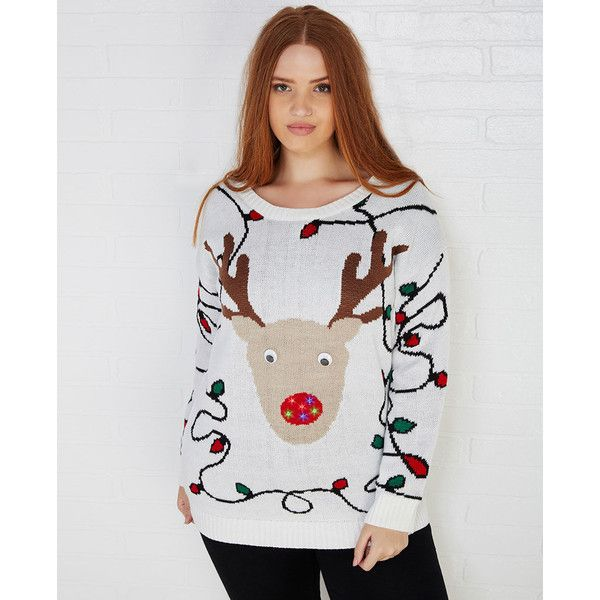 Golden Touch Imports planet Gold Light-Up Rudolph Sweater ( 30) ❤ liked aa8221f37
