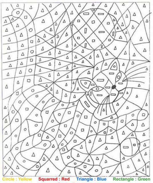 Cat Color By Shape Coloring Pages For Teenagers Color By