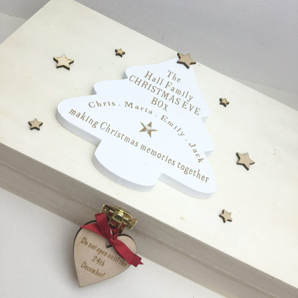Personalised Small Family Christmas Eve Wooden Box | Personalised ...