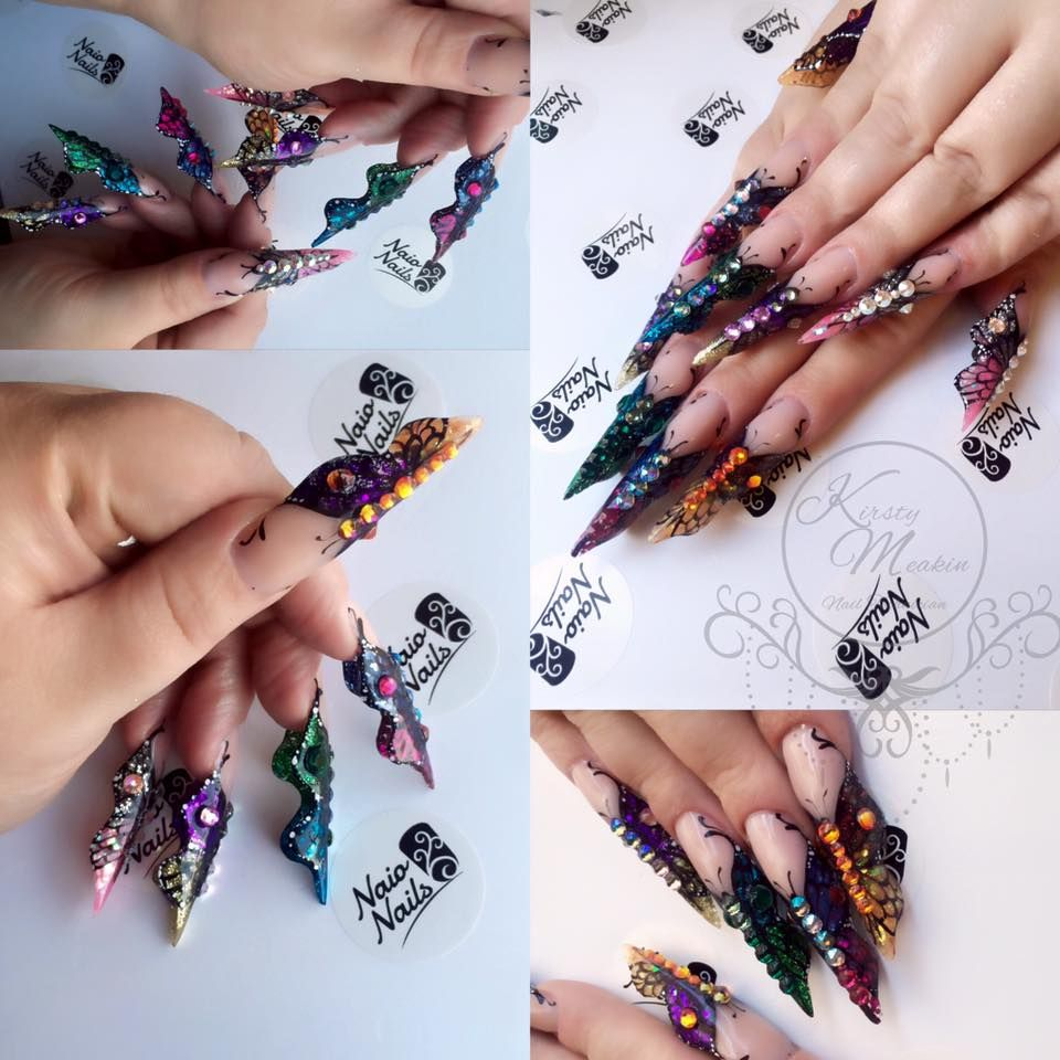 Kirsty Meakin Acrylic Butterfly Nail Art | NAIO NAILS #acrylicnails #nails #nailart #kirstymeakin #naionails #acrylicbutterfly