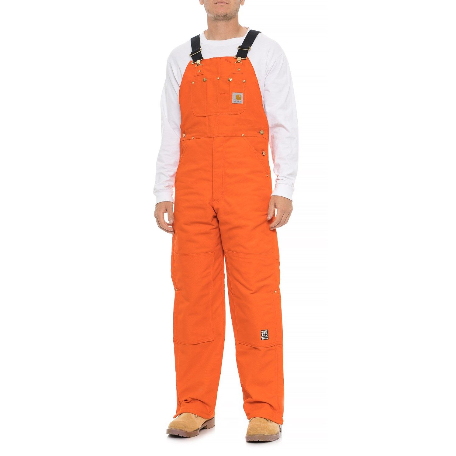 carhartt quilt lined duck bib overalls for men in blaze on best insulated coveralls for men id=45820