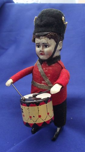 """Very Old 1920's Tin Clockwork Drumming Guardsman by """"Schuco""""Made in Germany"""