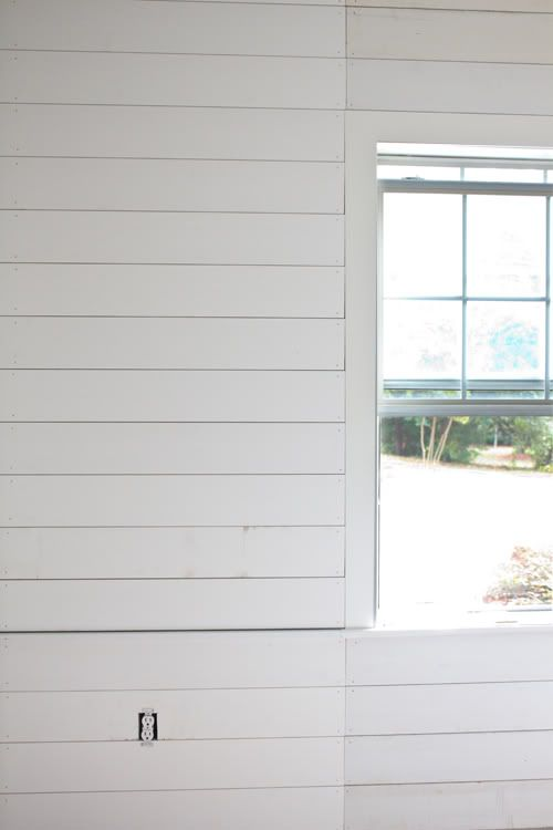 Planked Walls 1x6 Mdf Seamed By The Window So Curtains Will Cover And It Appears As Though The Boards Span The Whole W Ship Lap Walls House Wood Plank Walls