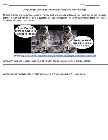 Concept Cartoon Worksheet Mass Vs Teaching Science Pinterest