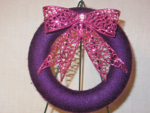 8 inch Purple Yarn Wreath with Pink Glitter Bow by MomsDownTime, $15.00