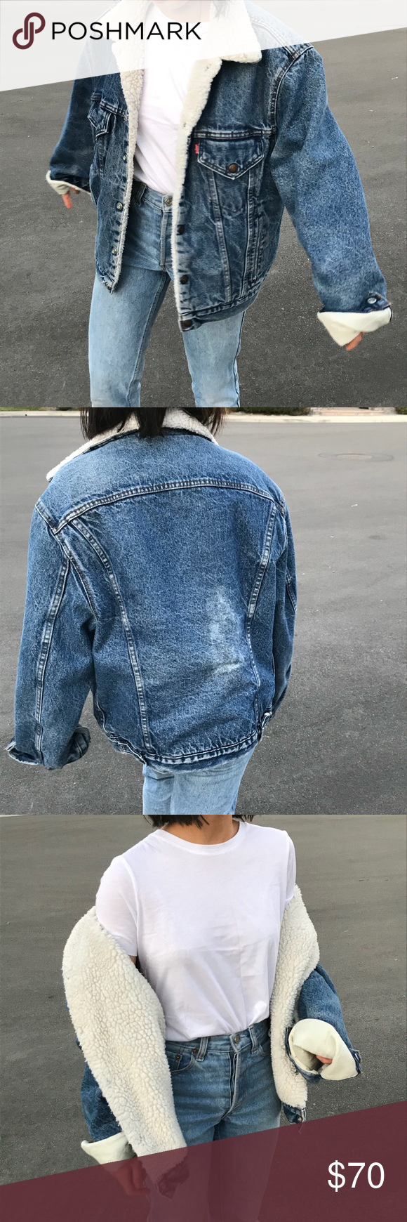 Vintage levius denim jacket with fur collar levis jacket fur
