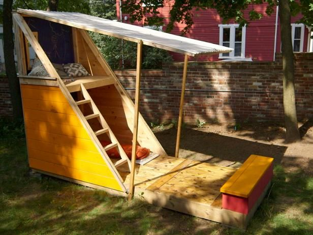 How to build a backyard playhouse play fort diy network for Build a simple playhouse